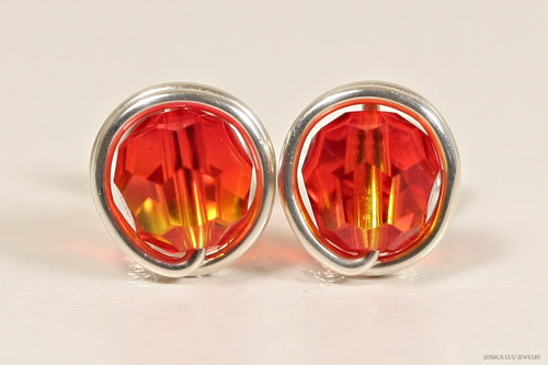 Sterling silver wire wrapped orange yellow fire opal Swarovski crystal stud earrings handmade by Jessica Luu Jewelry