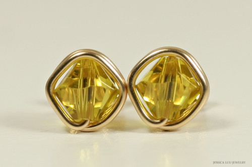 14K yellow gold filled wire wrapped lime Swarovski crystal stud earrings handmade by Jessica Luu Jewelry