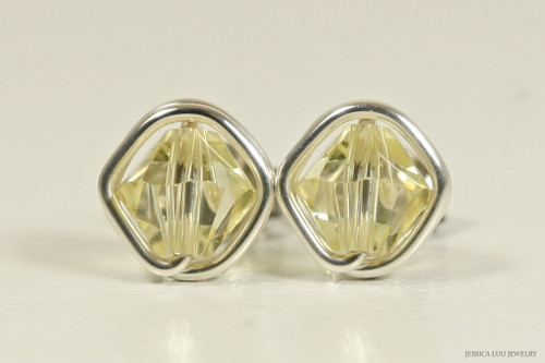 Sterling silver wire wrapped jonquil yellow Swarovski crystal stud earrings handmade by Jessica Luu Jewelry