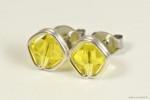 Sterling silver wire wrapped citrine yellow Swarovski crystal stud earrings handmade by Jessica Luu Jewelry