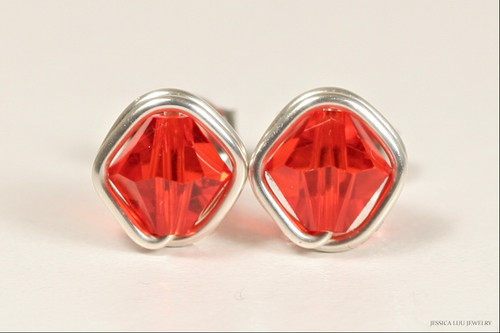 Sterling silver wire wrapped hyacinth orange red Swarovski crystal stud earrings handmade by Jessica Luu Jewelry