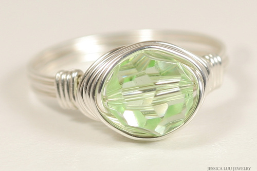 Sterling silver wire wrapped light green chrysolite Swarovski crystal solitaire ring handmade by Jessica Luu Jewelry