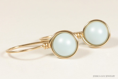 14K yellow gold filled wire wrapped pastel blue Swarovski pearl drop earrings handmade by Jessica Luu Jewelry