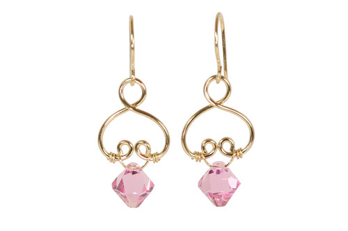 14K yellow gold filled wire wrapped light rose pink crystal dangle earrings handmade by Jessica Luu Jewelry