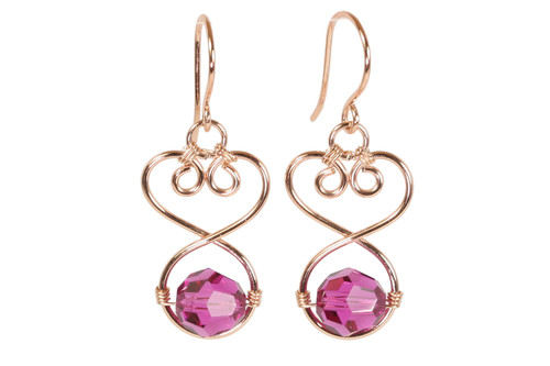 14K rose gold filled wire wrapped pink purple fuchsia crystal dangle earrings handmade by Jessica Luu Jewelry