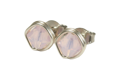 Sterling silver wire wrapped rosewater opal pink Swarovski crystal stud earrings handmade by Jessica Luu Jewelry