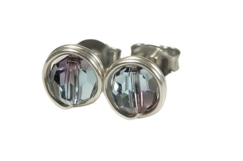 Sterling silver wire wrapped aquamarine/antique pink Swarovski crystals handmade by Jessica Luu Jewelry