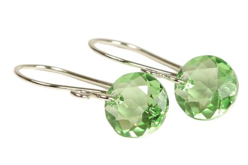 Sterling silver light green peridot Swarovski crystal classic cut pendant dangle earrings handmade by Jessica Luu Jewelry