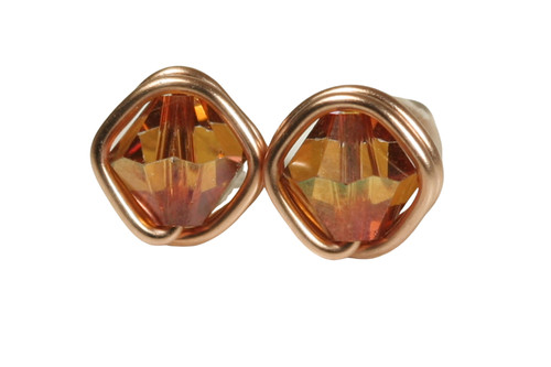 14K rose gold filled wire wrapped copper crystal stud earrings handmade by Jessica Luu Jewelry
