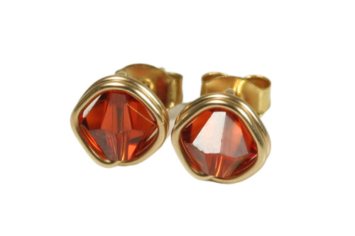14K yellow gold filled wire wrapped pumpkin spice Indian red Swarovski crystal stud earrings handmade by Jessica Luu Jewelry