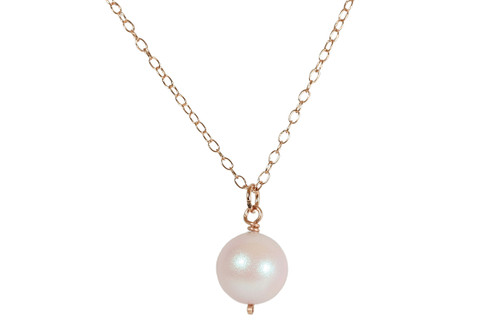 14K rose gold filled wire wrapped iridescent light pink dreamy rose Swarovski pearl pendant on chain necklace handmade by Jessica Luu Jewelry