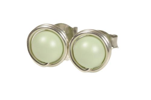 Sterling silver wire wrapped light pastel green Swarovski pearl stud earrings handmade by Jessica Luu Jewelry