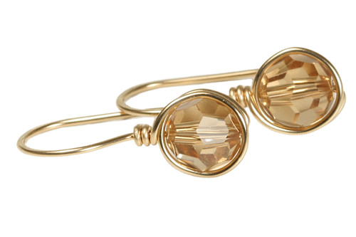 14K yellow gold filled wire wrapped honey brown light Colorado topaz Swarovski crystal drop earrings handmade by Jessica Luu Jewelry
