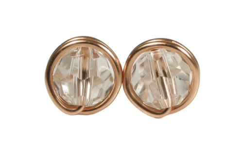 14K rose gold filled wire wrapped clear crystal stud earrings handmade by Jessica Luu Jewelry
