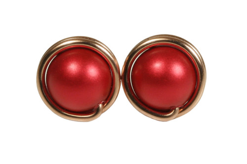 14K rose gold filled wire wrapped rouge red pearl stud earrings handmade by Jessica Luu Jewelry