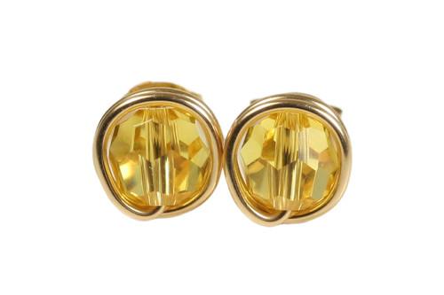 14K yellow gold filled wire wrapped light topaz Swarovski crystal stud earrings handmade by Jessica Luu Jewelry