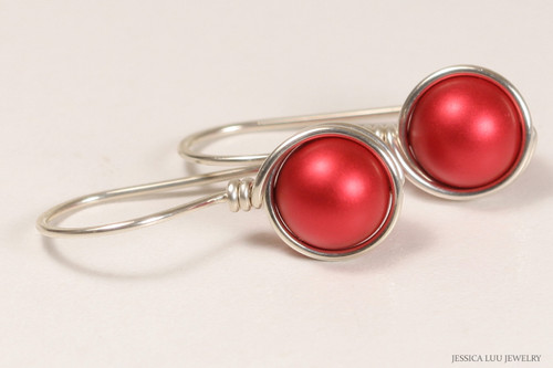 Sterling silver wire wrapped rouge red Swarovski pearl drop earrings handmade by Jessica Luu Jewelry