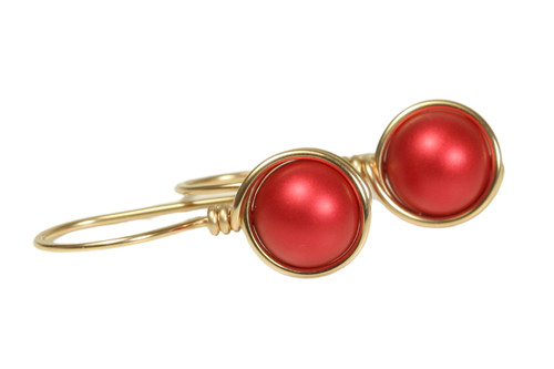 14K gold filled wire wrapped rouge red pearl drop earrings handmade by Jessica Luu Jewelry