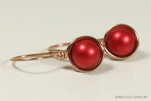 14K gold filled wire wrapped rouge red Swarovski pearl drop earrings handmade by Jessica Luu Jewelry