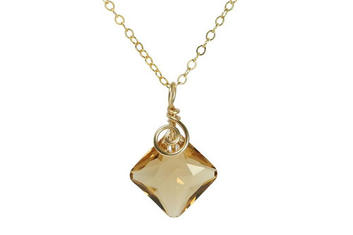 14K yellow gold filled wire wrapped light Colorado topaz Swarovski crystal pendant on chain necklace handmade by Jessica Luu Jewelry