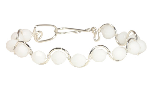 Sterling silver wire wrapped white alabaster Swarovski crystal bracelet handmade by Jessica Luu Jewelry