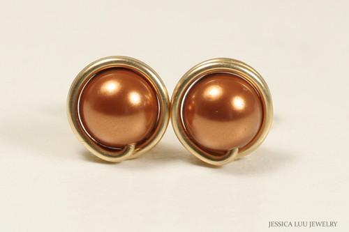 14K yellow gold filled wire wrapped copper Swarovski pearl stud earrings handmade by Jessica Luu Jewelry