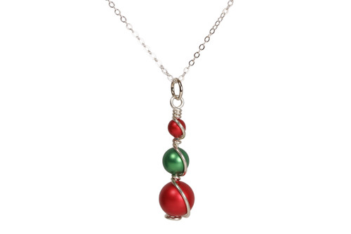 Sterling silver wire wrapped rouge red and eden green Swarovski pearl pendant on chain necklace handmade by Jessica Luu Jewelry