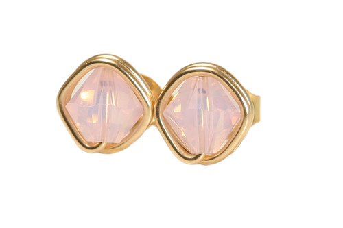 14K yellow gold filled wire wrapped rosewater opal pink Swarovski crystal stud earrings handmade by Jessica Luu Jewelry
