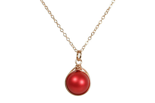 14K rose gold filled wire wrapped rouge red Swarovski pearl pendant on chain necklace handmade by Jessica Luu Jewelry
