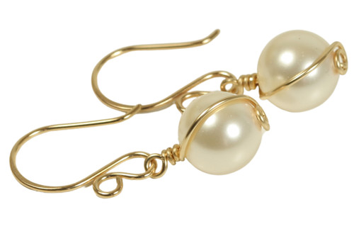 14K yellow gold filled wire wrapped ivory cream Swarovski pearl dangle earrings handmade by Jessica Luu Jewelry