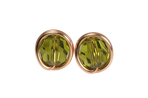 14K rose gold filled wire wrapped olivine green Swarovski crystal round stud earrings handmade by Jessica Luu Jewelry