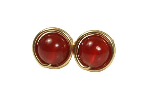 14K yellow gold filled wire wrapped red carnelian gemstone stud earrings handmade by Jessica Luu Jewelry