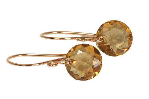 14K rose gold filled dangle earrings with honey brown light Colorado topaz Swarovski crystals handmade by Jessica Luu Jewelry