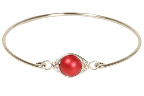 Sterling silver wire wrapped rouge red Swarovski pearl bangle bracelet handmade by Jessica Luu Jewelry