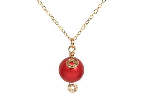 14K yellow gold filled wire wrapped large rouge red Swarovski pearl solitaire pendant on chain necklace handmade by Jessica Luu Jewelry