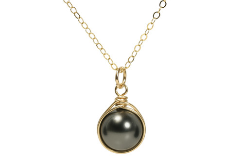 14K yellow gold filled wire wrapped black Swarovski pearl solitaire necklace handmade by Jessica Luu Jewelry