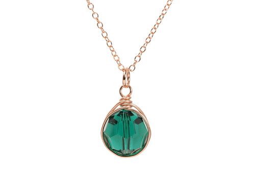 14K rose gold filled wire wrapped emerald green Swarovski crystal pendant necklace handmade by Jessica Luu Jewelry