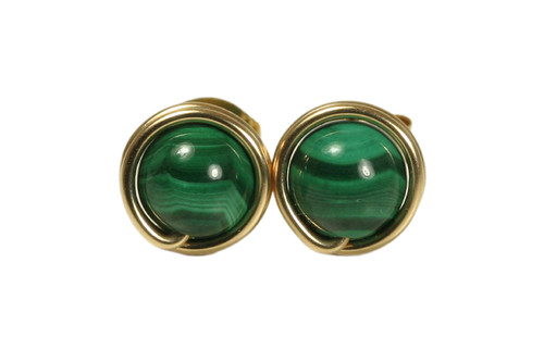 14K yellow gold filled wire wrapped malachite gemstone stud earrings handmade by Jessica Luu Jewelry