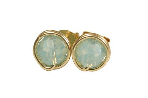 14K gold filled wire wrapped Pacific opal crystal stud earrings handmade by Jessica Luu Jewelry