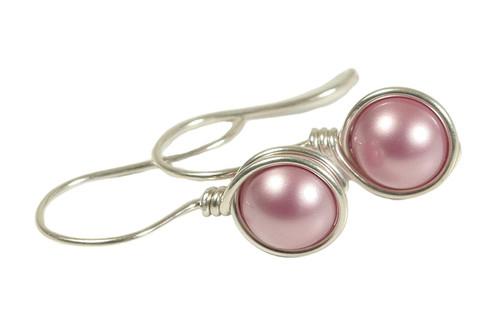 Sterling silver wire wrapped powder pink pearl drop earrings handmade by Jessica Luu Jewelry