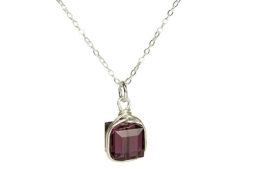 Sterling Silver Amethyst Swarovski Crystal Necklace - Available with Matching Earrings and Other Metal Options