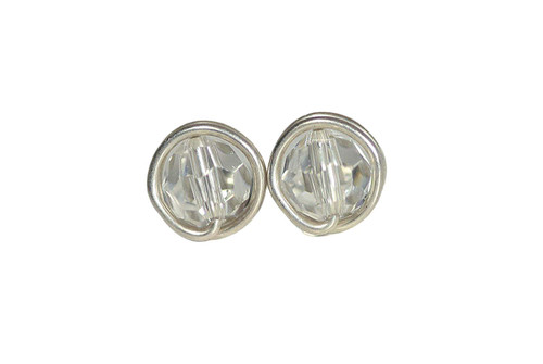 Sterling Silver Clear Swarovski Crystal Stud Earrings - Available in 2 Sizes and Other Metal Options