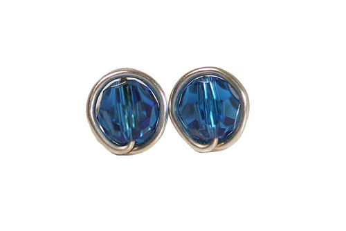 Sterling Silver Bright Blue Crystal Stud Earrings - Available in 2 Sizes and Other Metal Options