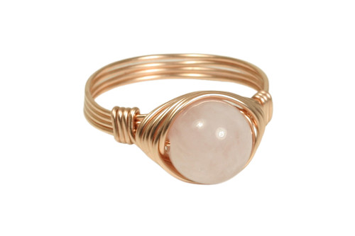 14K rose gold filled wire wrapped rose quartz gemstone ring handmade by Jessica Luu Jewelry