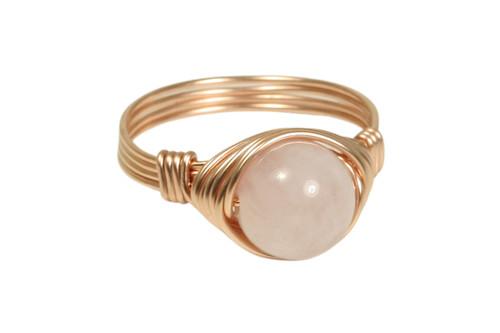 14K rose gold filled wire wrapped rose quartz gemstone ring handmade by Jessica Luu Jewelry