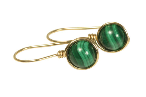 14K yellow gold filled wire wrapped malachite green gemstone earrings handmade by Jessica Luu Jewelry