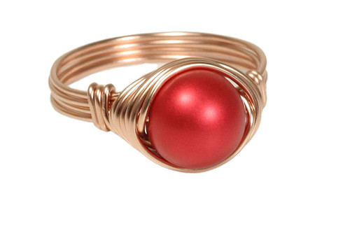 14K rose gold filled wire wrapped rouge red Swarovski pearl solitaire ring handmade by Jessica Luu Jewelry