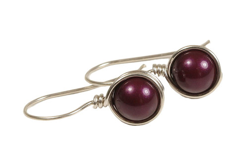 Sterling Silver Purple Pearl Earrings - Available with Matching Necklace and Other Metal Options