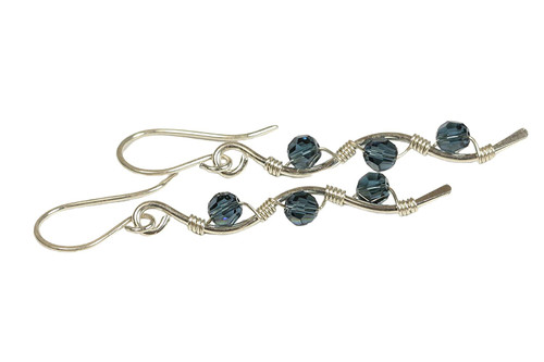 Sterling Silver Blue Swarovski Crystal Dangle Earrings - Available with Matching Necklace