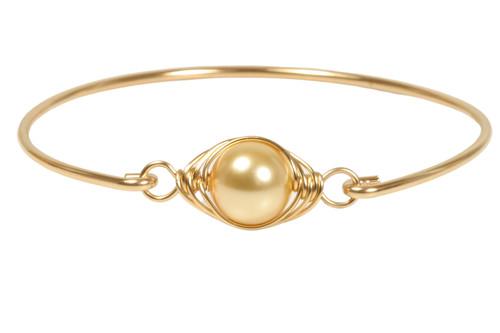 14K yellow gold filled wire wrapped Swarovski pearl bangle bracelet handmade by Jessica Luu Jewelry
